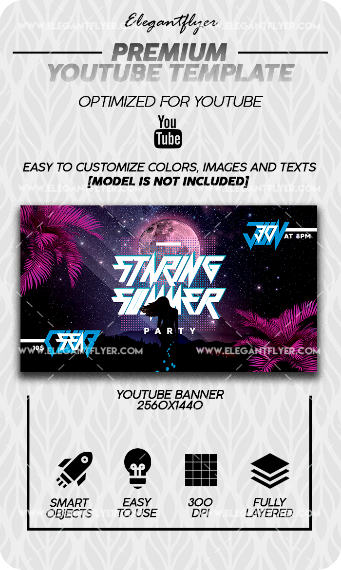 Staring Summer Night – Premium Youtube Channel banner PSD Template