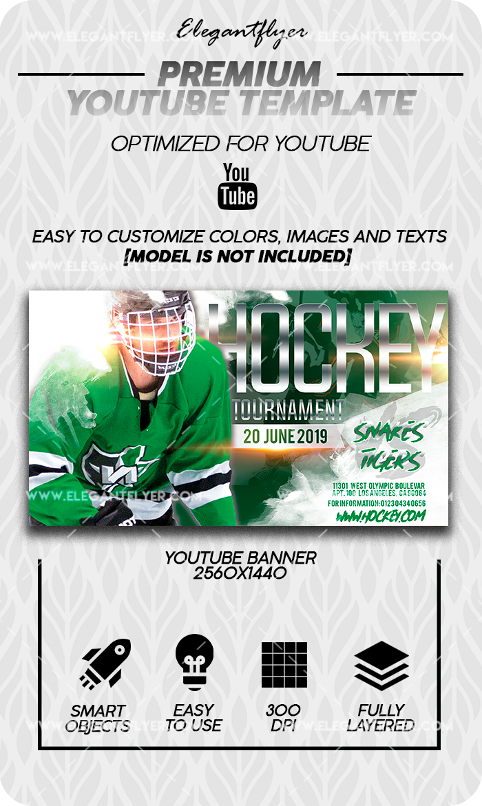 Hockey Tournament – Premium Youtube Channel banner PSD Template