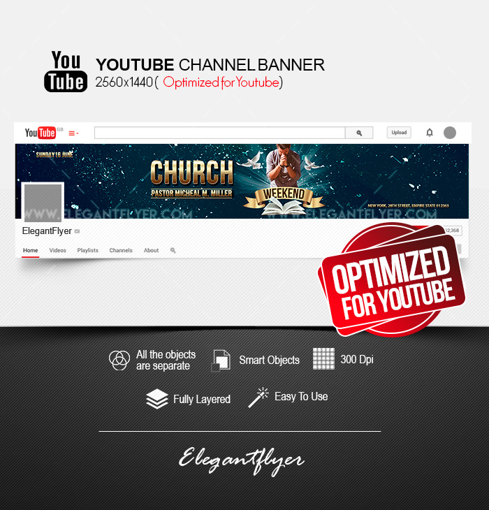 Weekend Church Event – Free Youtube Channel banner PSD Template