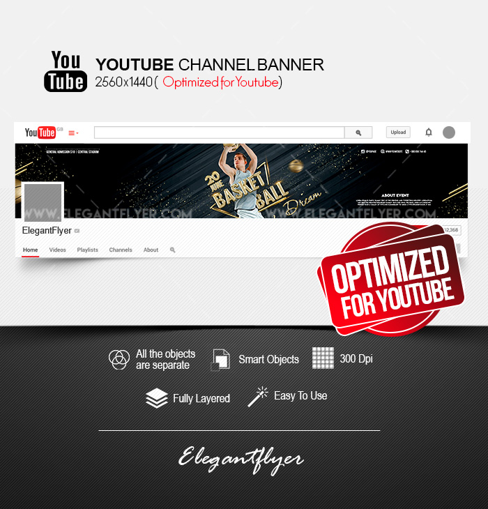 Basketball Dream – Youtube Channel banner PSD Template