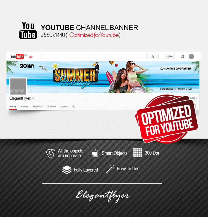 Summer Holidays – Free Youtube Channel banner PSD Template