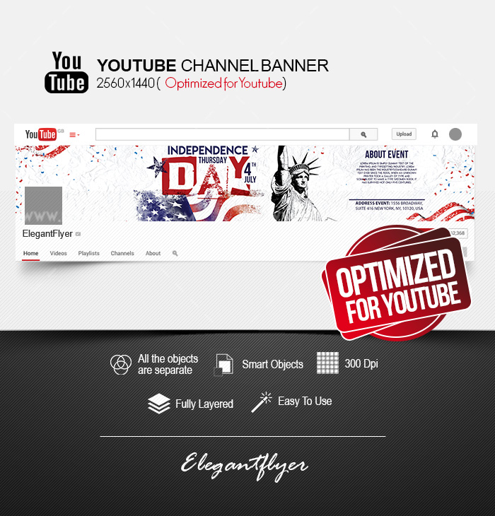 Independence Day – Youtube Channel banner PSD Template
