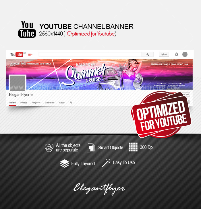 Summer Cruise – Youtube Channel banner PSD Template