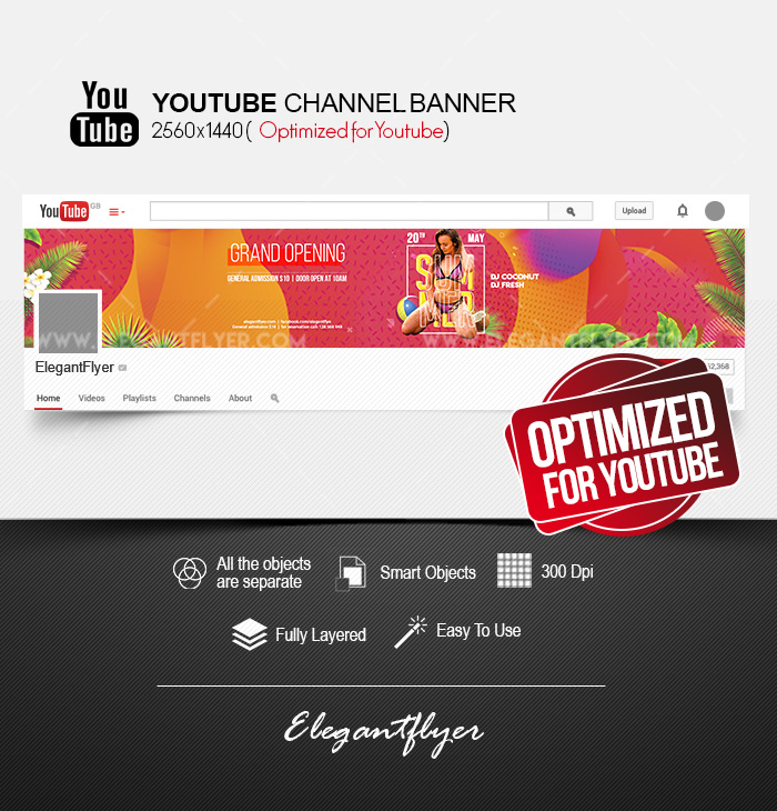 Summer Club Grand Opening – Youtube Channel banner PSD Template