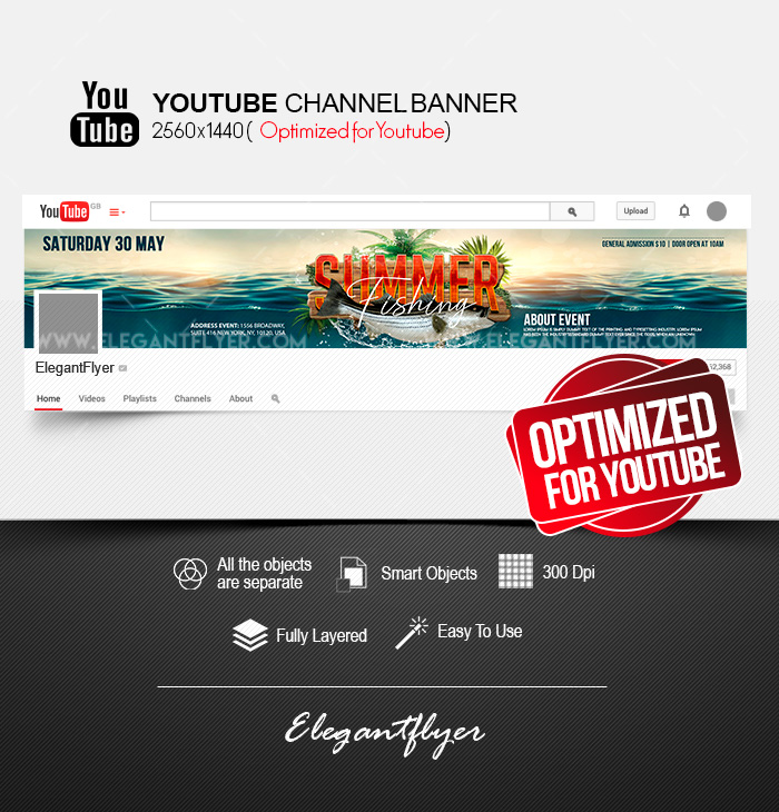 Summer Fishing – Youtube Channel banner PSD Template