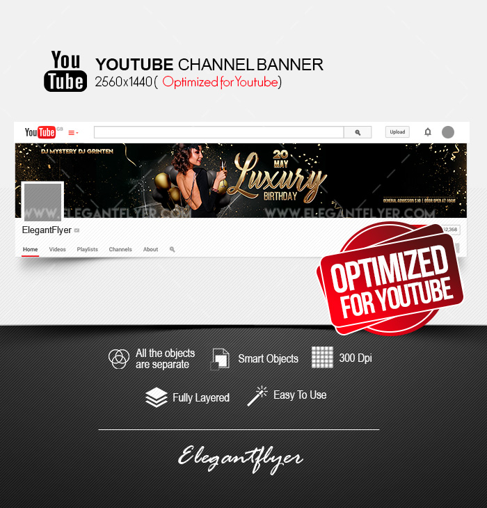 Luxury Birthday – Free Youtube Channel banner PSD Template