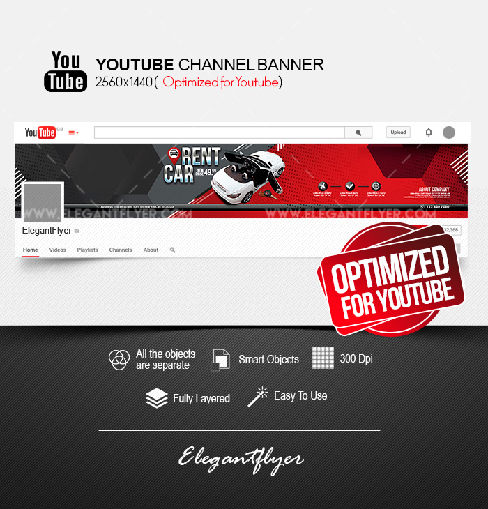 Rent a Car – Youtube Channel banner PSD Template