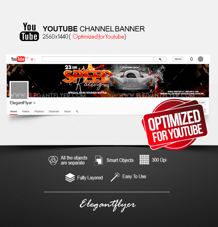 Speed Racing – Youtube Channel banner PSD Template