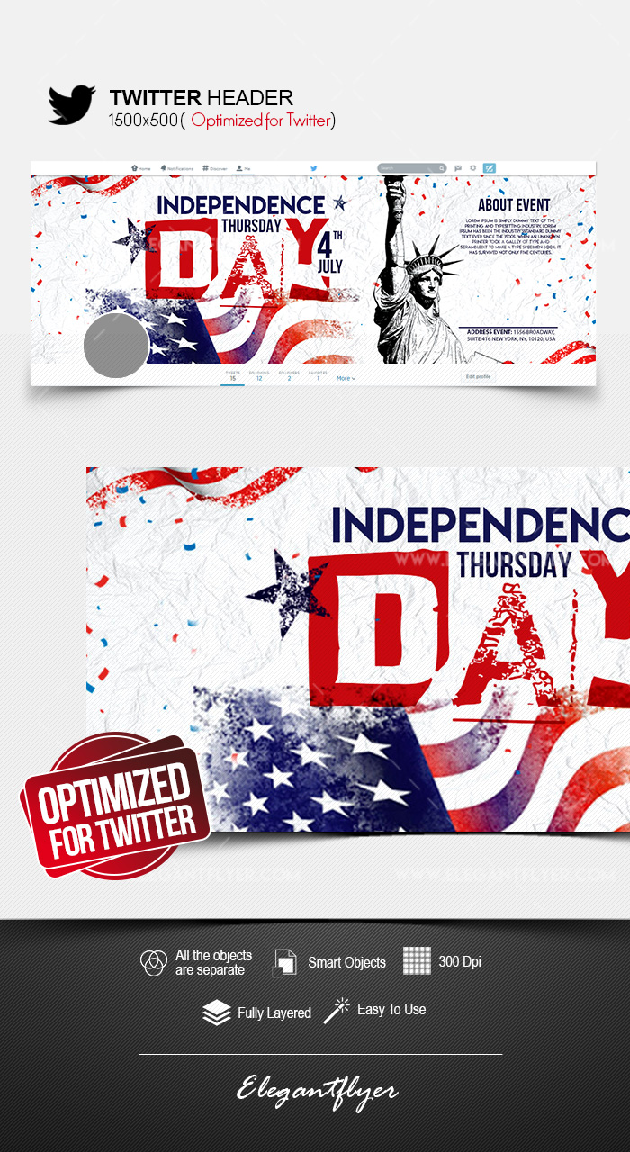 Independence Day – Twitter Header PSD Template