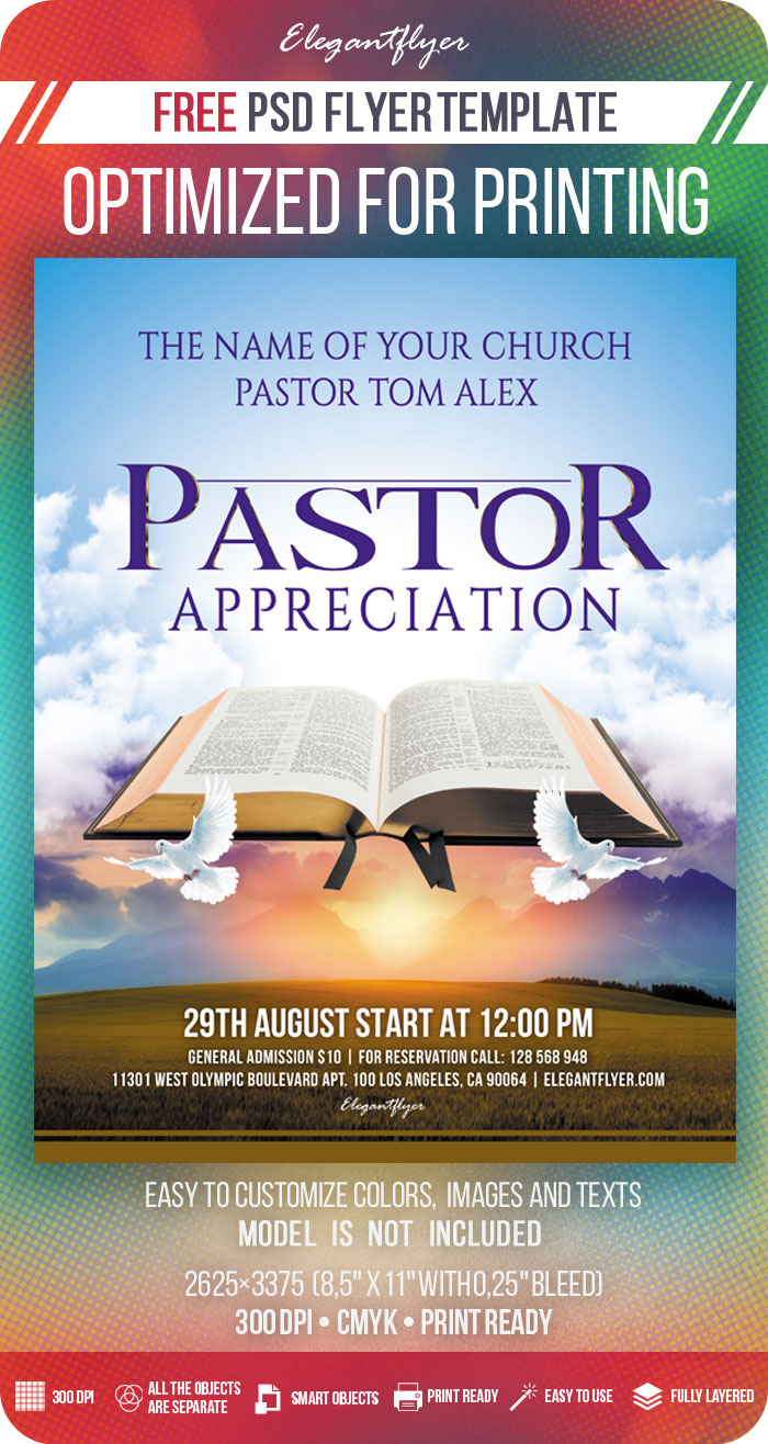 Pastor Appreciation – Free PSD Flyer Template