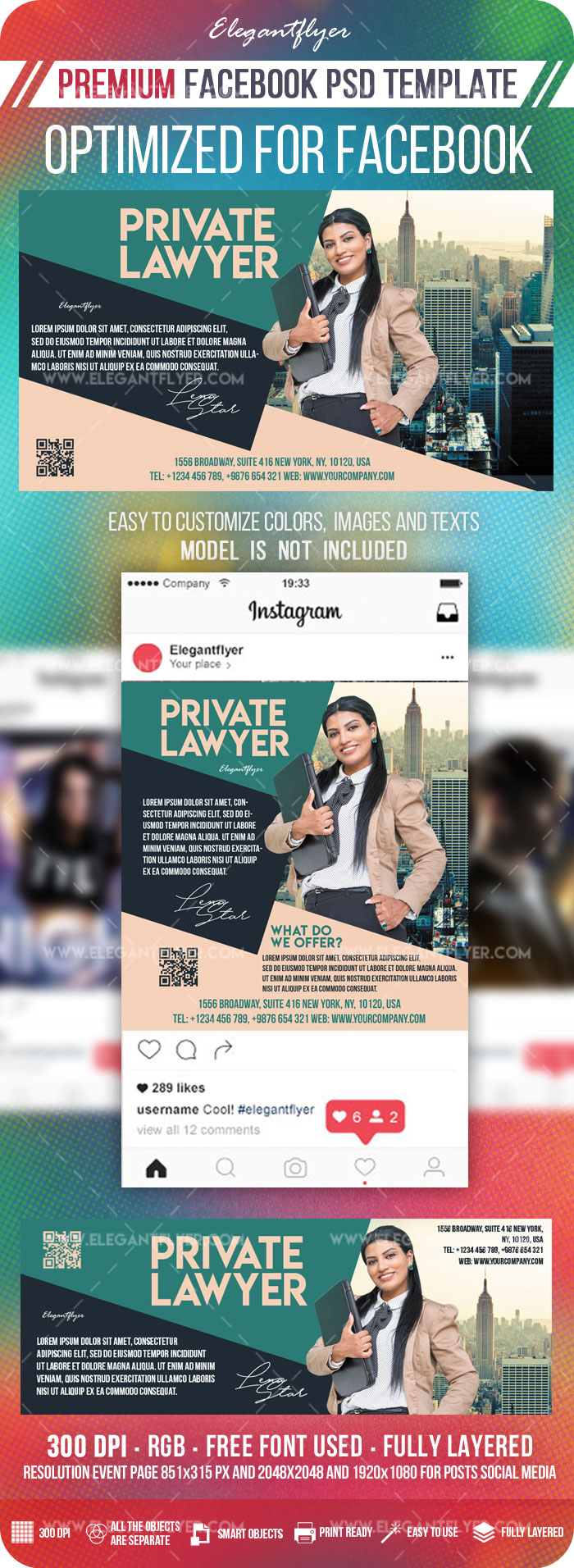 Private Lawyer – Facebook Cover Template in PSD + Post + Event cover