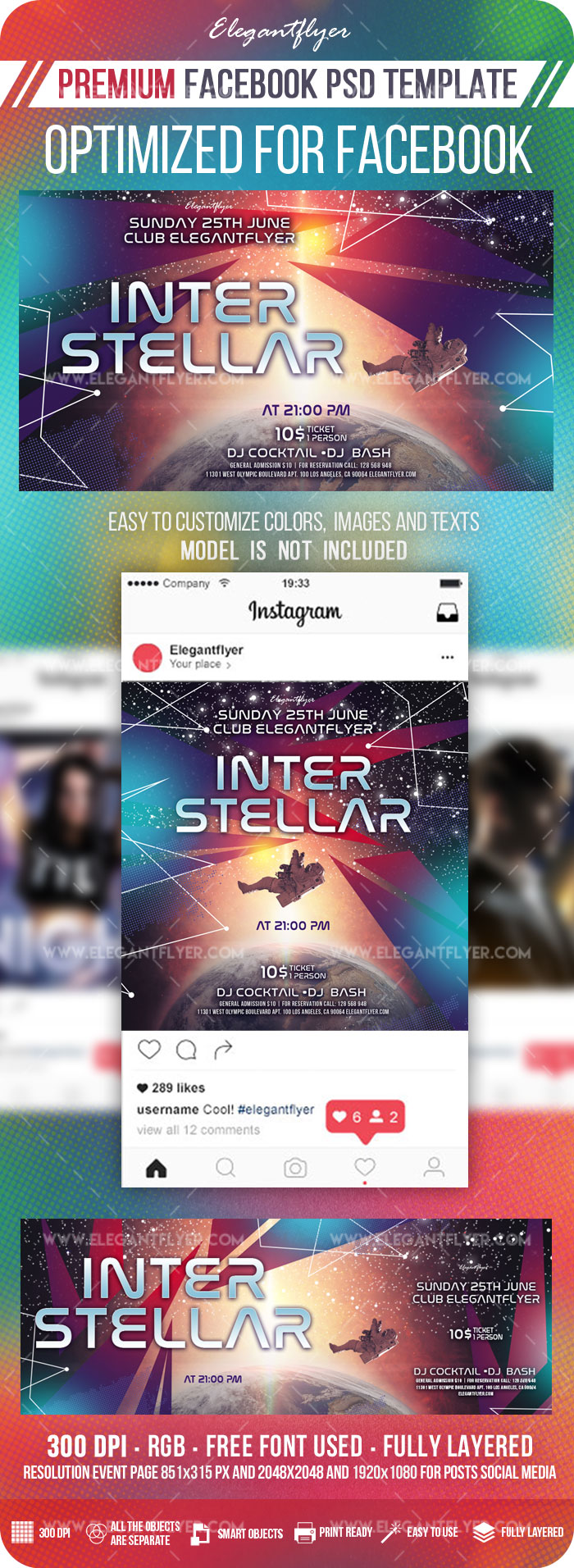 Interstellar – Facebook Cover Template in PSD + Post + Event cover