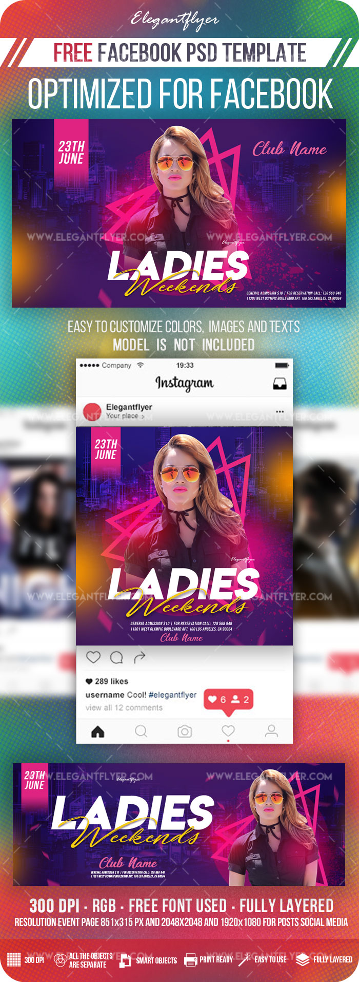 Ladies Weekends – Free Facebook Cover Template in PSD + Post + Event cover