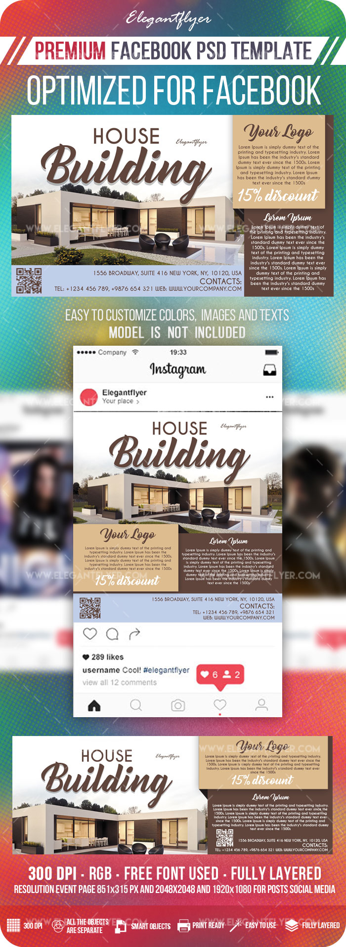 House Building – Facebook Cover Template in PSD + Post + Event cover