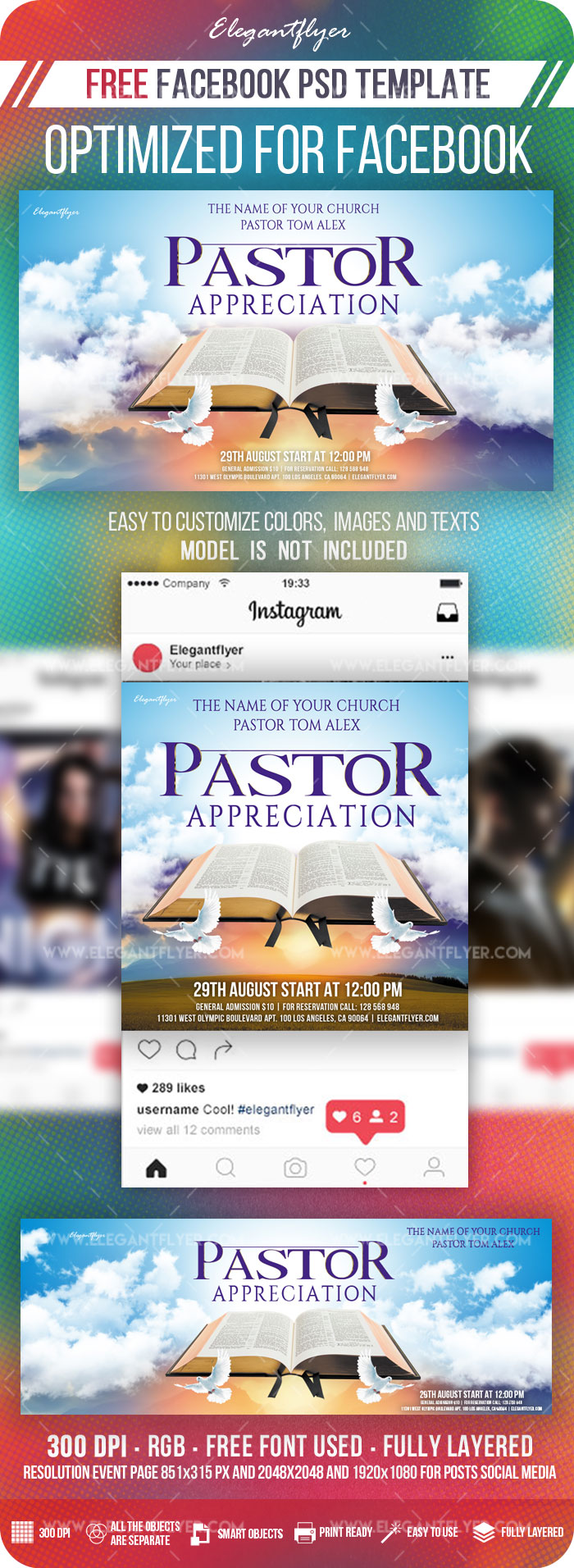 Pastor Appreciation – Free Facebook Cover Template in PSD + Post + Event cover