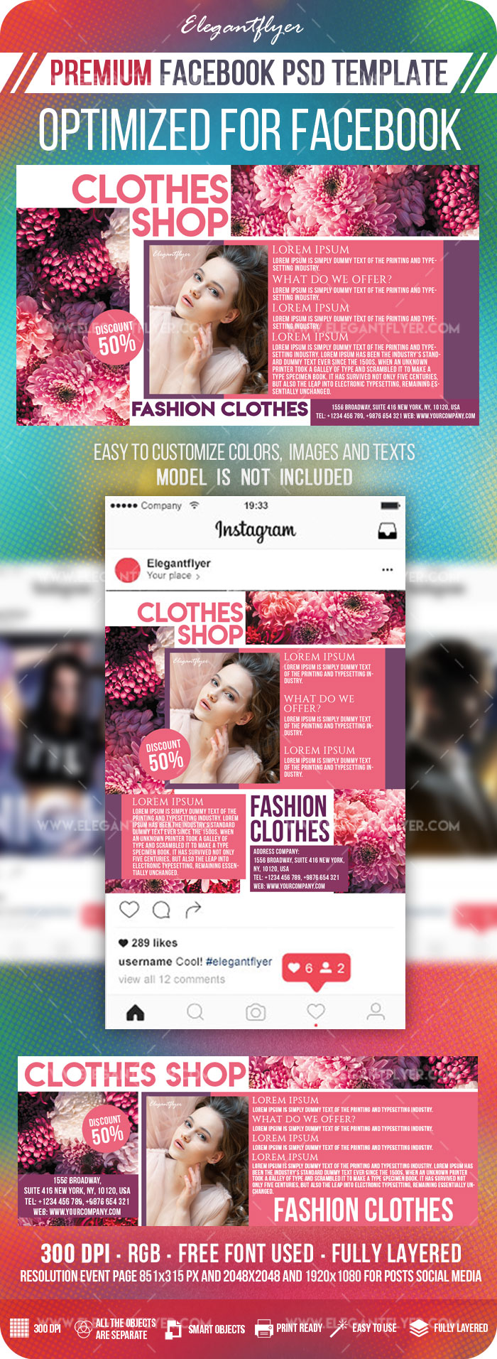 Clothes Shop – Facebook Cover Template in PSD + Post + Event cover