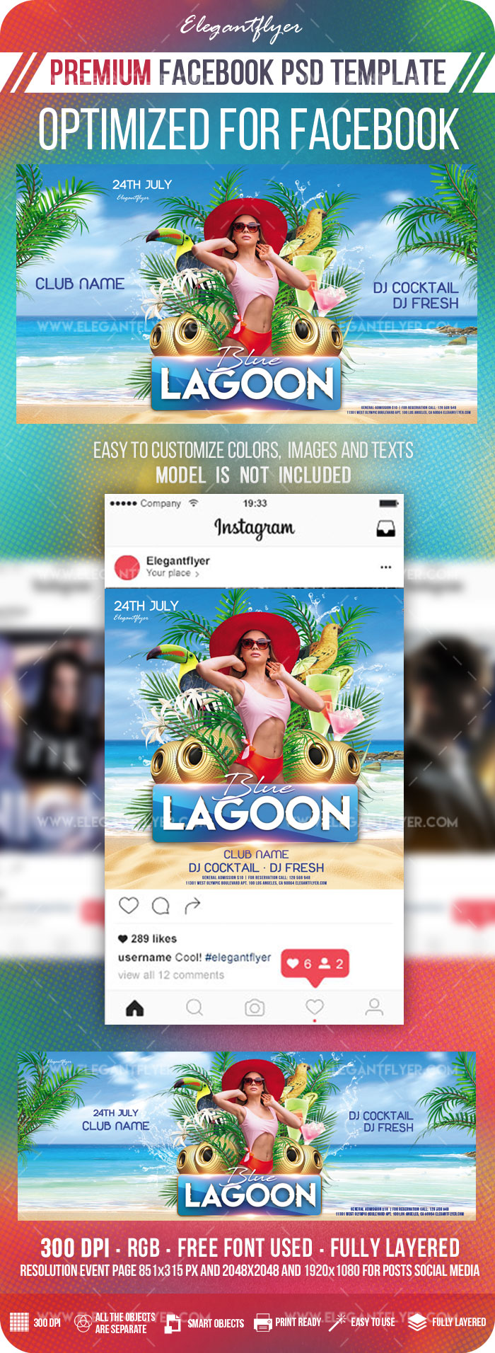 Blue Lagoon – Facebook Cover Template in PSD + Post + Event cover