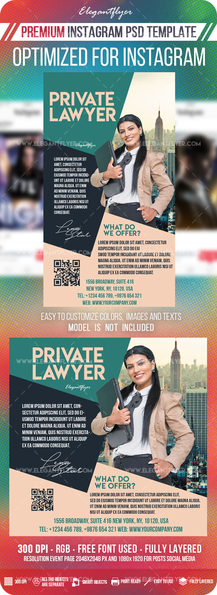 Private Lawyer – Instagram Stories Template in PSD + Post Templates