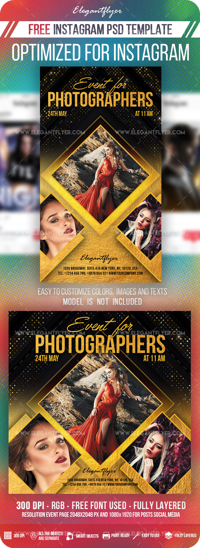 Event for Photographers – Free Instagram Stories Template in PSD + Post Templates