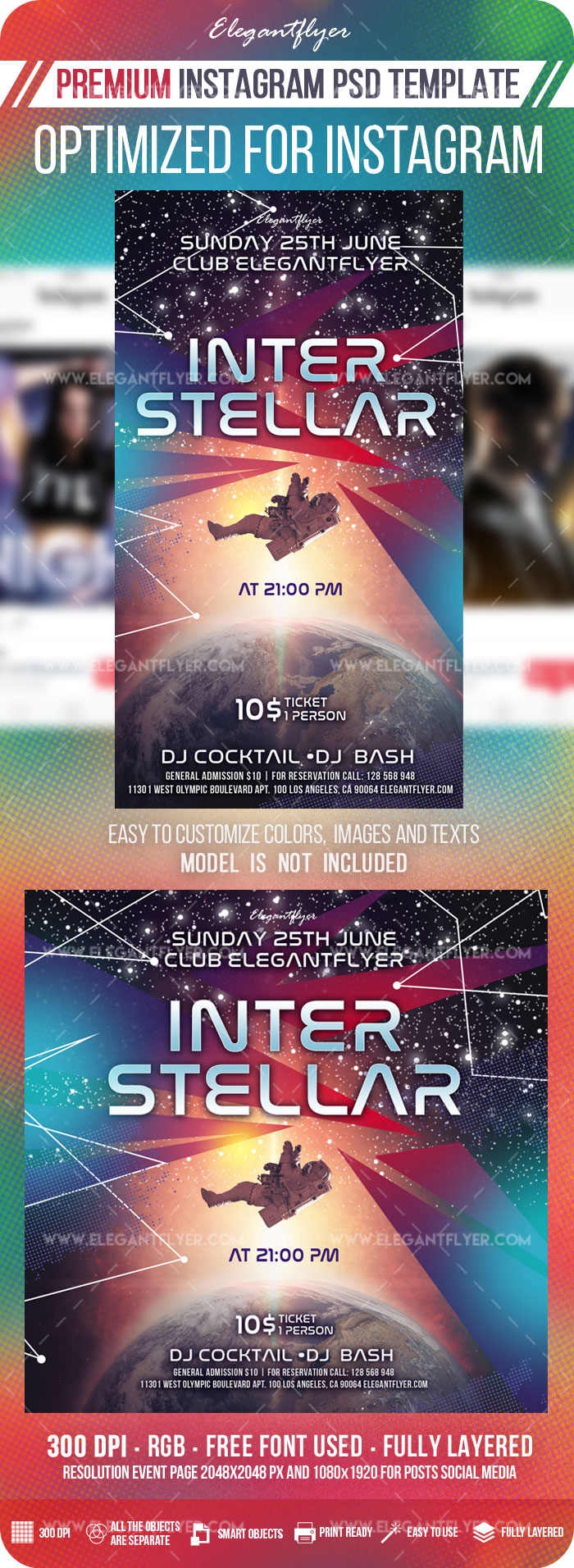 Interstellar – Instagram Stories Template in PSD + Post Templates