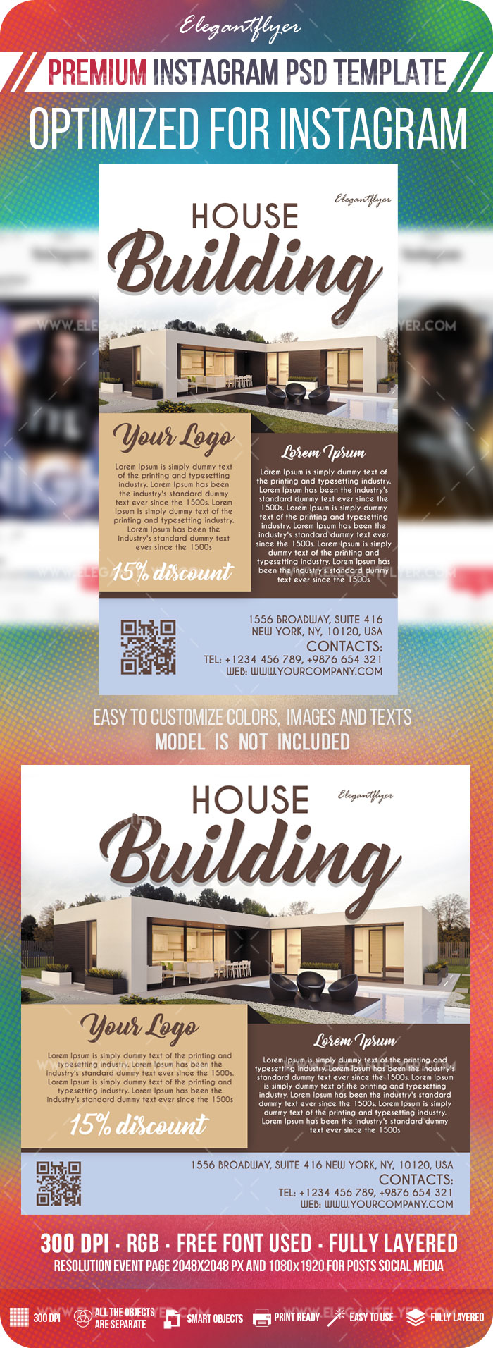 House Building – Instagram Stories Template in PSD + Post Templates