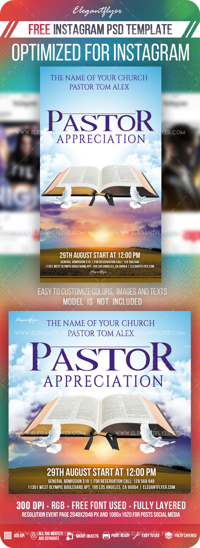 Pastor Appreciation – Free Instagram Stories Template in PSD + Post Templates