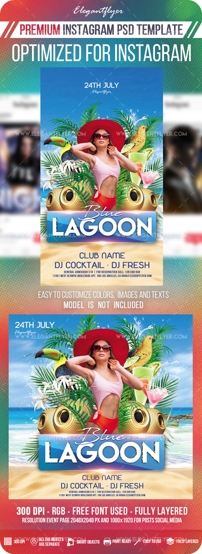 Blue Lagoon – Instagram Stories Template in PSD + Post Templates
