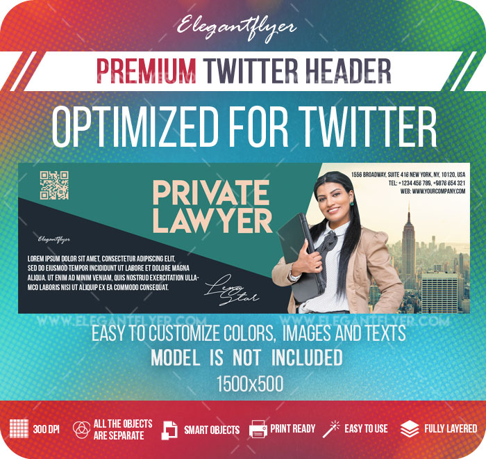 Private Lawyer – Twitter Header PSD Template