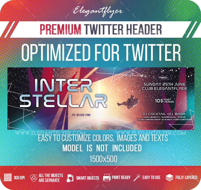 Interstellar – Twitter Header PSD Template