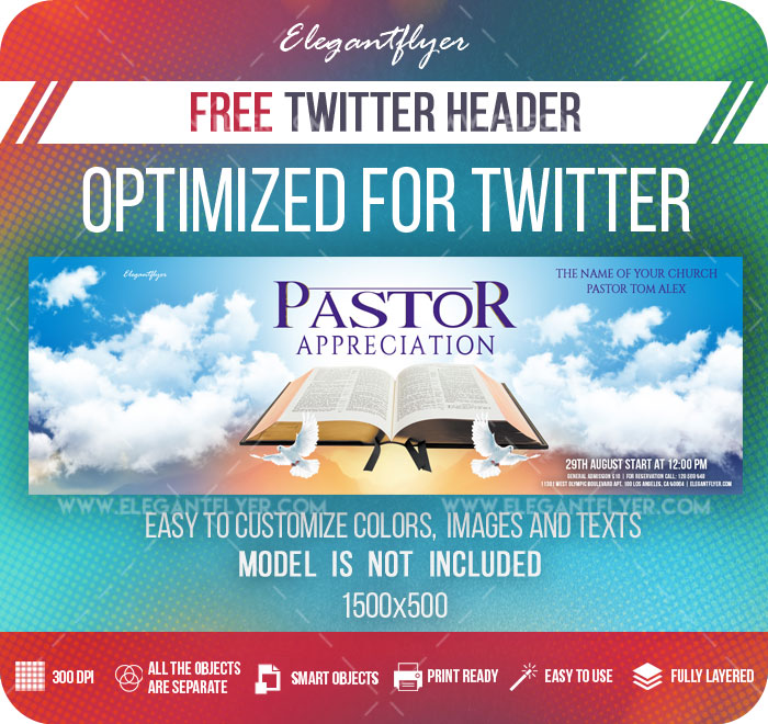 pastor appreciation  u2013 free twitter header psd template