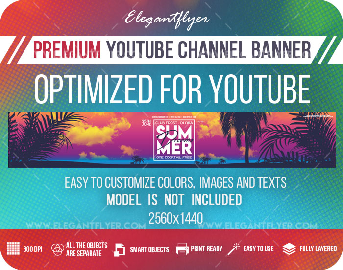Summer Dreams – Youtube Channel banner PSD Template