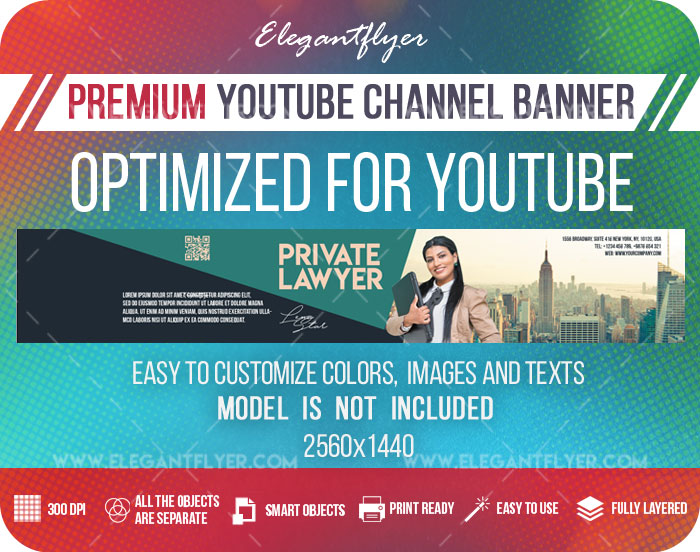 Private Lawyer – Youtube Channel banner PSD Template