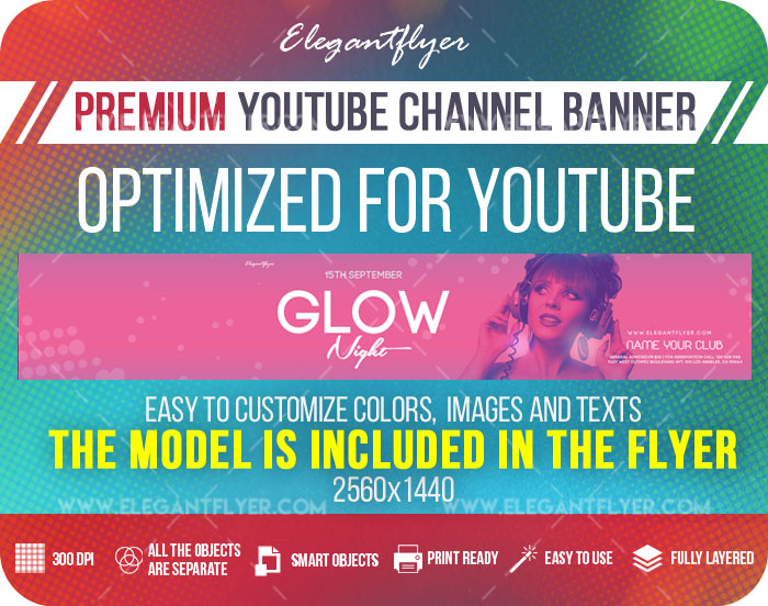 Glow Night – Youtube Channel banner PSD Template
