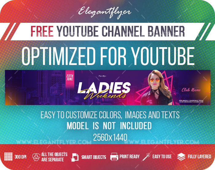 Ladies Weekends – Free Youtube Channel banner PSD Template