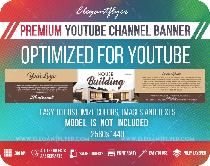 House Building – Youtube Channel banner PSD Template