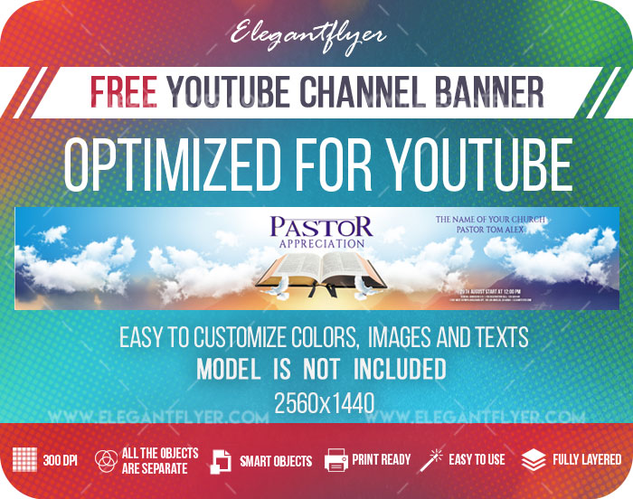 Pastor Appreciation – Free Youtube Channel banner PSD Template