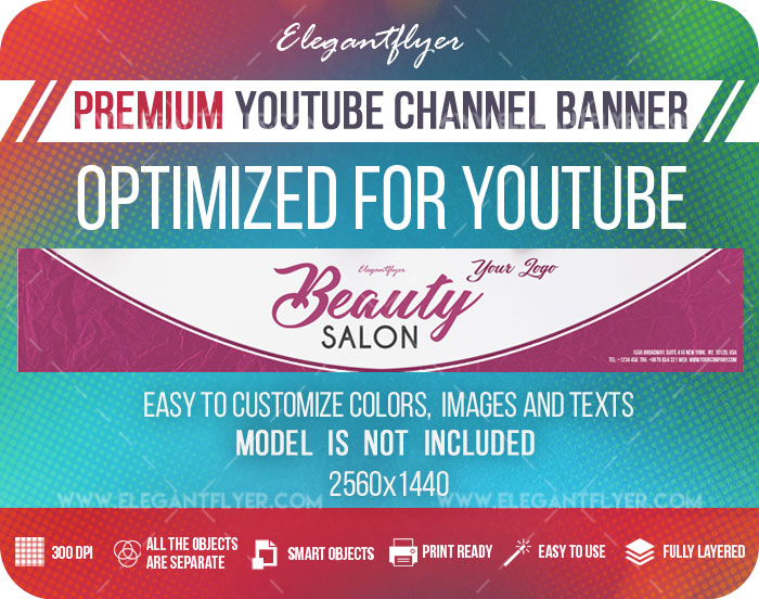 Beauty Salon – Youtube Channel banner PSD Template