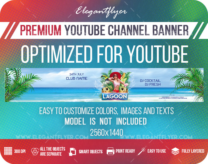 Blue Lagoon – Youtube Channel banner PSD Template