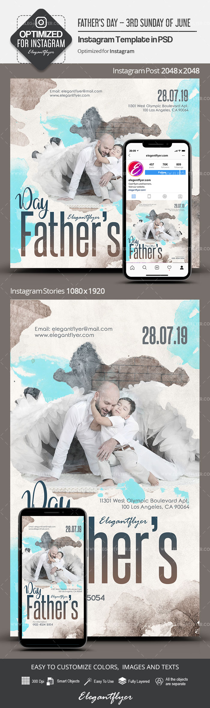 Father's Day – 3rd Sunday of June – Instagram Stories Template in PSD + Post Templates