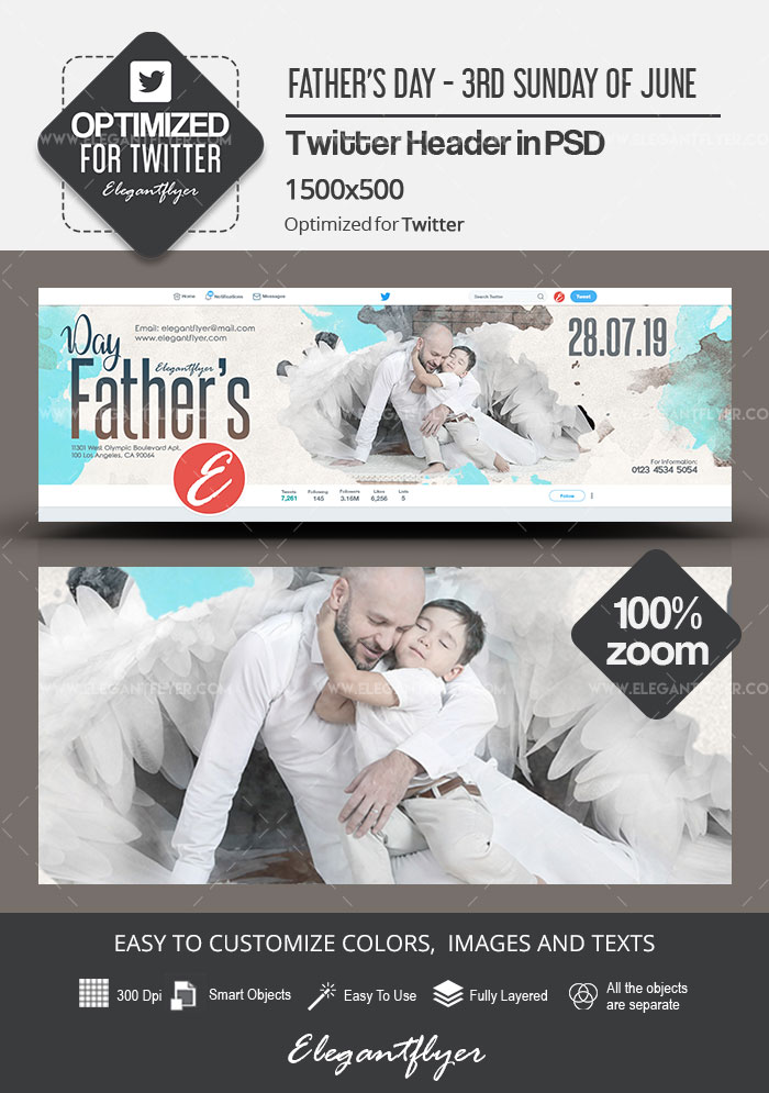 Father's Day – 3rd Sunday of June – Twitter Header PSD Template