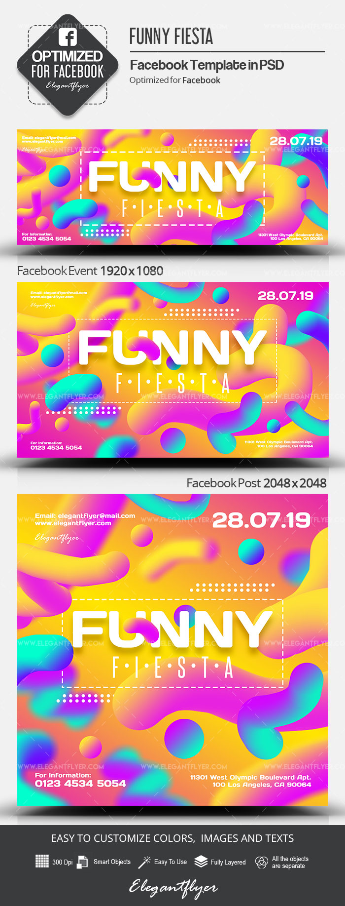 Funny Fiesta – Facebook Cover Template in PSD + Post + Event cover