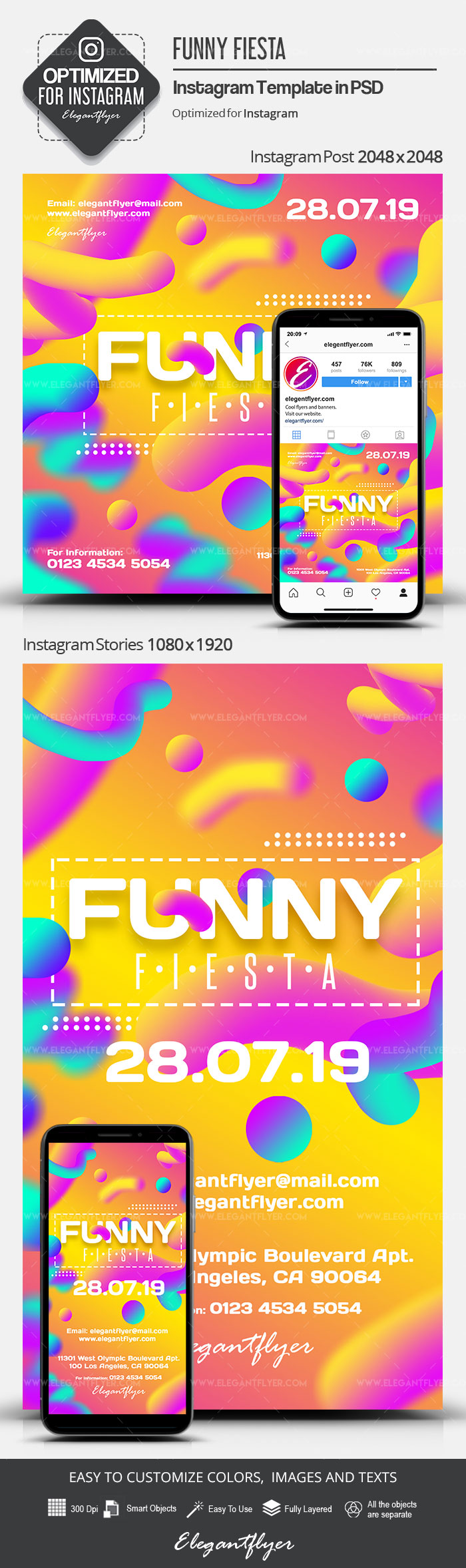 Funny Fiesta – Instagram Stories Template in PSD + Post Templates