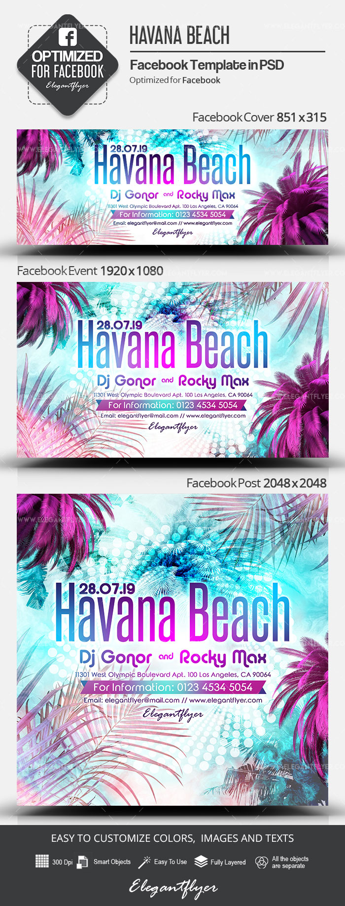 Havana Beach – Facebook Cover Template in PSD + Post + Event cover