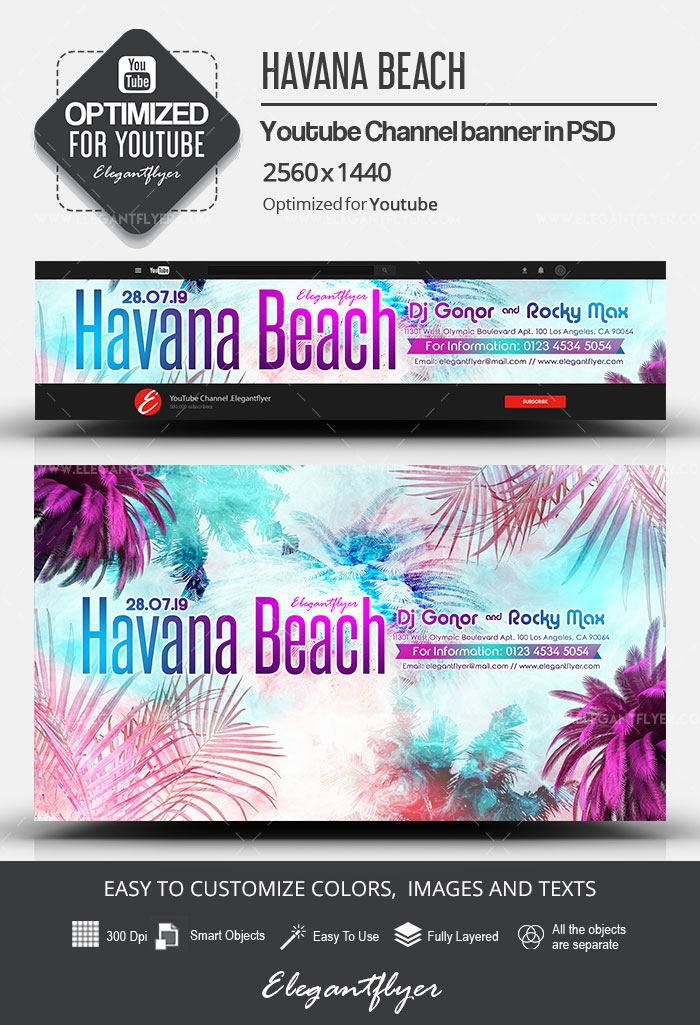 Havana Beach – Youtube Channel banner PSD Template