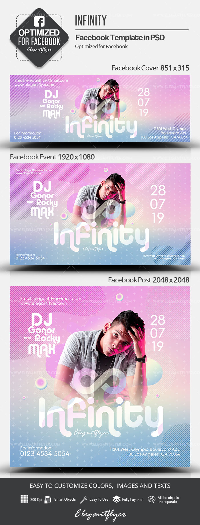 Infinity – Facebook Cover Template in PSD + Post + Event cover