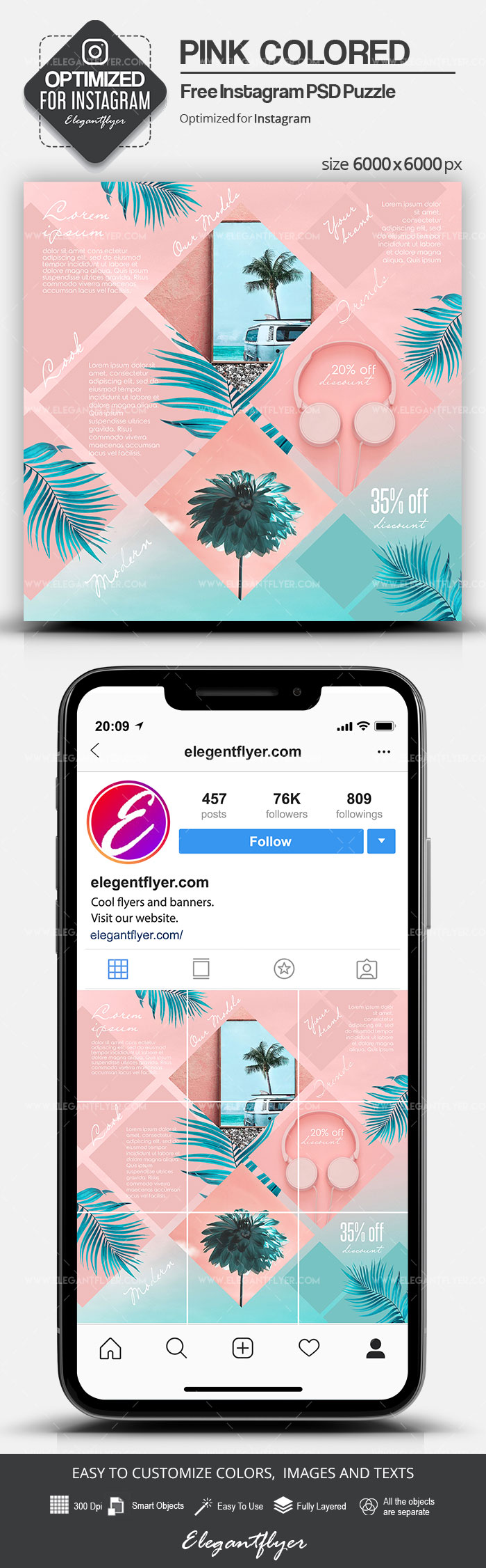 Pink Colored – Free Instagram PSD Puzzle