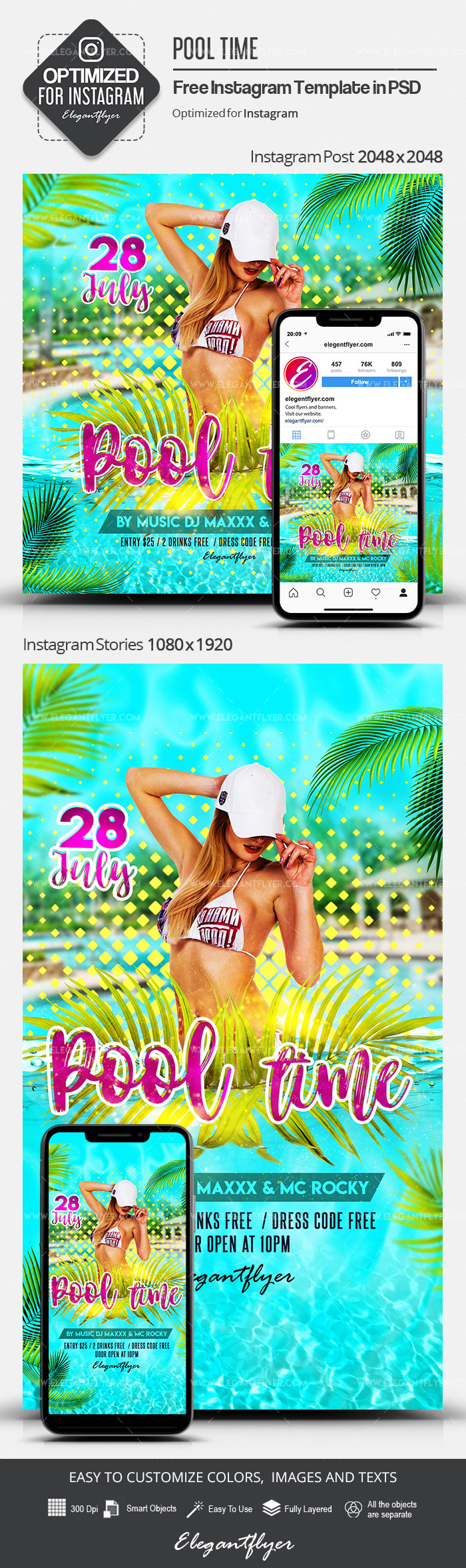 Pool Time – Free Instagram Stories Template in PSD + Post Templates
