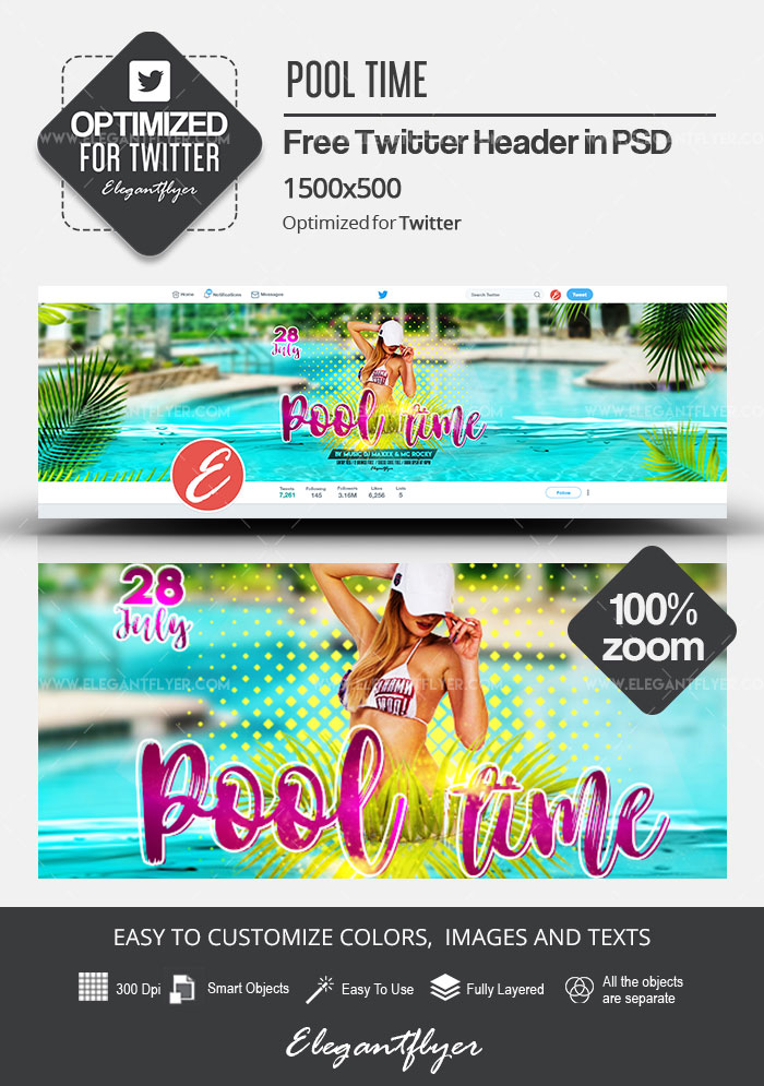 Pool Time – Free Twitter Header PSD Template