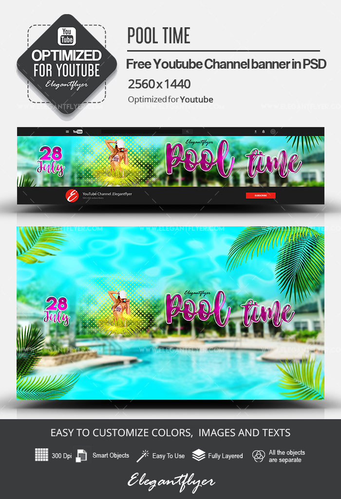 Pool Time – Free Youtube Channel banner PSD Template