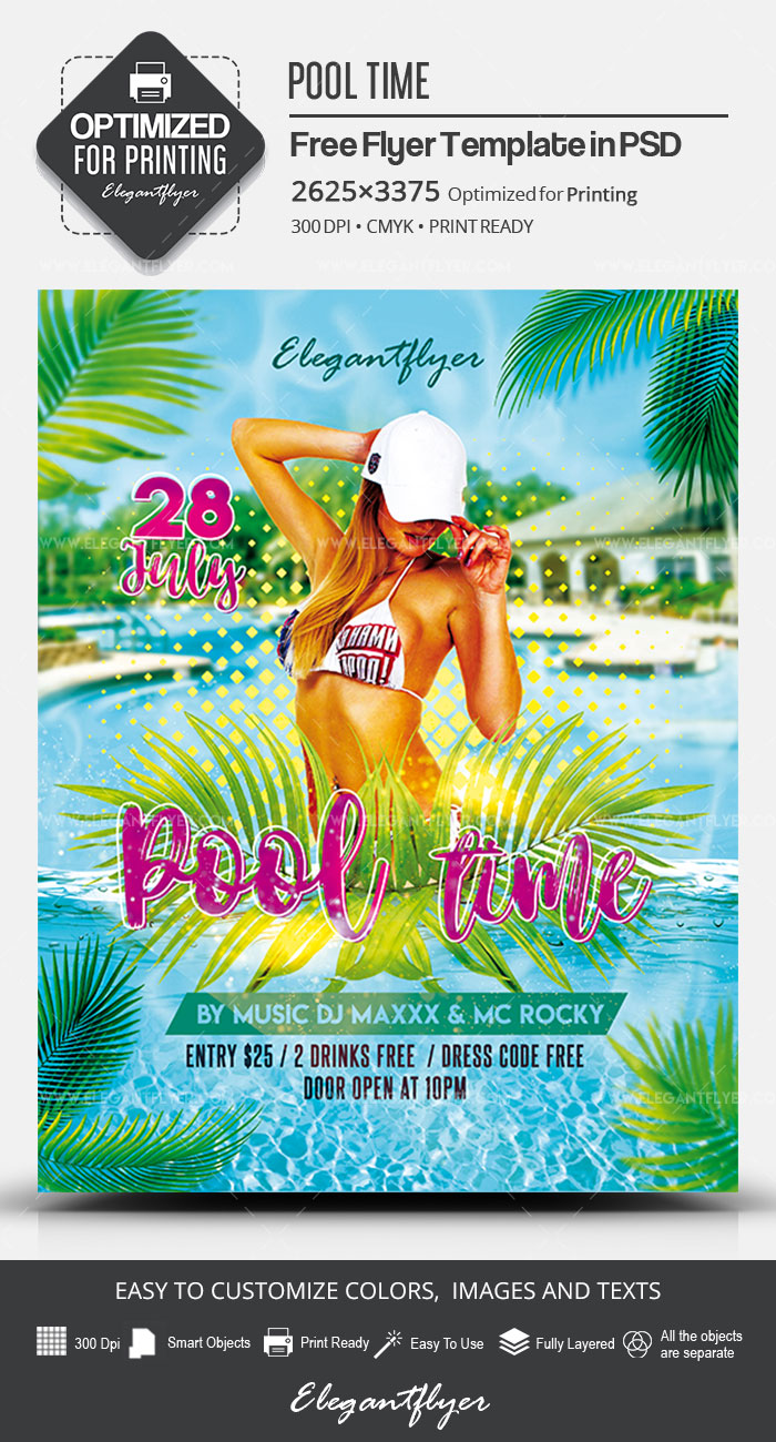 Pool Time – Free PSD Flyer Template